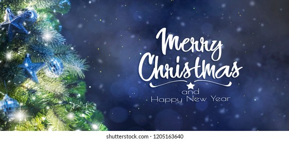 Christmas Tree with Lights at Night, Christmas and New Year background
