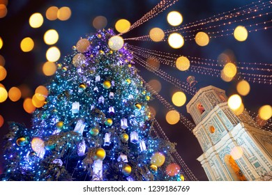 Christmas tree and lights at night on New Year's Eve in Kiev