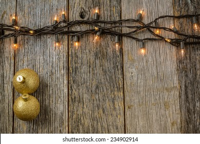 Christmas Tree Lights Rustic Wood Background Stock Photo Royalty