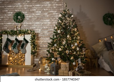 Christmas tree in the living room, festive interior, soft focus
