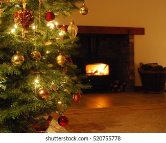 Christmas tree and log fire
