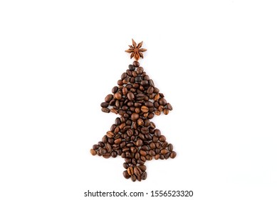 Christmas tree made of coffee beans on white background