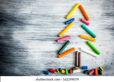 Christmas tree made of crayons