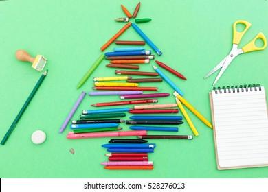 Christmas Tree, Christmas tree made of crayons and notebook