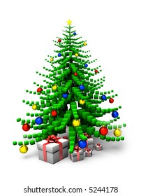 christmas tree made of cubes with red, blue and yellow bomlets and presents isolated on white background
