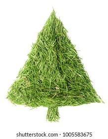 Christmas tree made of needles on isolated white