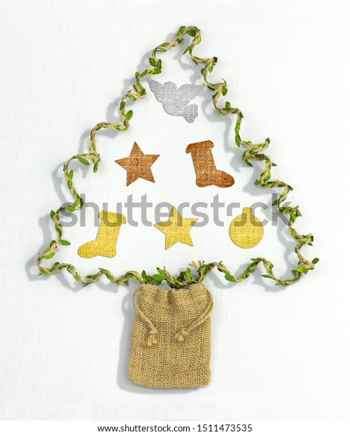 Christmas Tree Made Recycled Gift Twine Stock Photo Edit