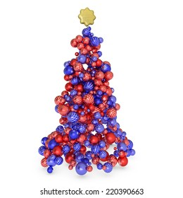Christmas tree made with red and blue balls