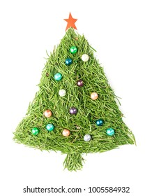 Christmas tree made of spruce needles decorated with beads and star on isolated white