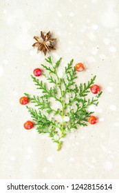 Christmas tree made of thuja branches and decorations star of anise and ashberry on snow rustic background. Christmas, new year concept. Flat lay, top view, copy space.