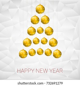 Christmas tree made from yellow christmas balls against the background of flat triangles with shiny sparkles. 3D illustration, template for your greeting card