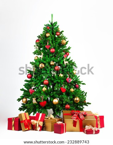 christmas tree with presents under it