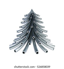 Christmas tree metal pipe on a white background 3d Illustrations