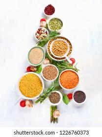 Christmas Tree Mmmade of healthy Food. Top view