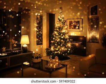 Christmas tree in modern living room golden glitter bokeh effect