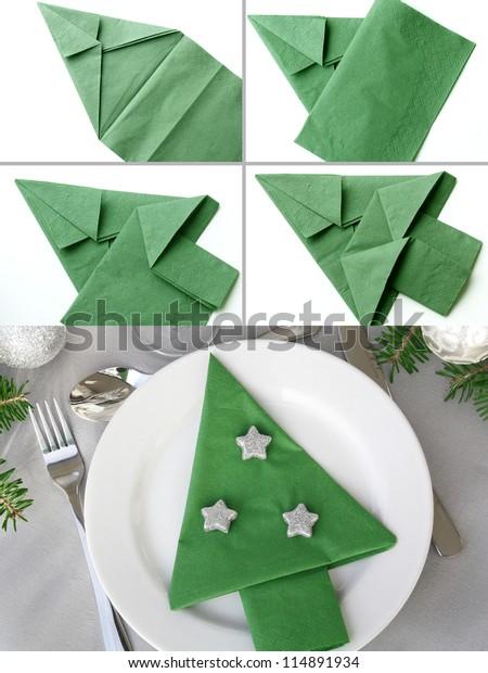 Christmas Napkin Folding.Christmas Tree Napkin Folding Stock Photo Edit Now 114891934