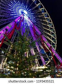 Christmas tree near the Ferris wheel in Lille, France