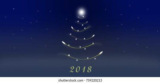 Christmas tree. New Year. 2018. graphic drawing. Christmas. On a blue background
