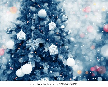 christmas tree new year lights winter background with garland bokeh