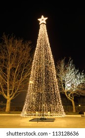 Christmas tree at night, in plaza