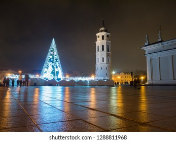 Christmas tree at night in Vilnius