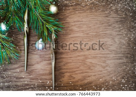 Christmas Tree Old Golden Decoration Icicle Stock Photo Edit Now
