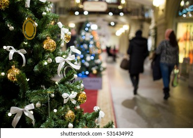 Christmas tree on background mall