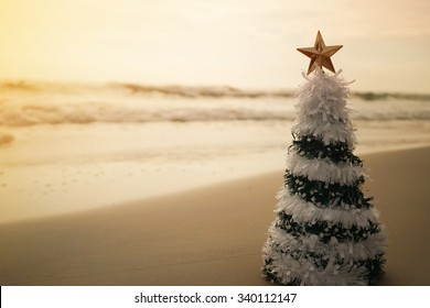christmas tree on the beach