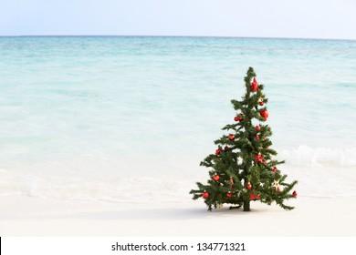 Christmas Tree On Beautiful Tropical Beach