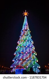 Christmas tree on Freedom Square, Kharkiv, Ukraine.