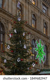 Christmas tree on Havelske namesti in Prague Czech Republic