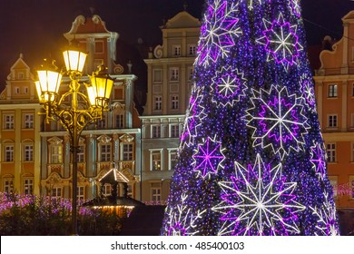 Christmas tree on Market Square at christmas night in Wroclaw, Poland