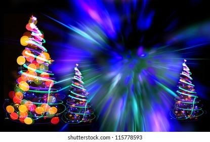 Christmas Tree Forest Color Lights On Stock Illustration 65418673 ...
