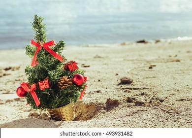 Christmas tree on the sandy beach