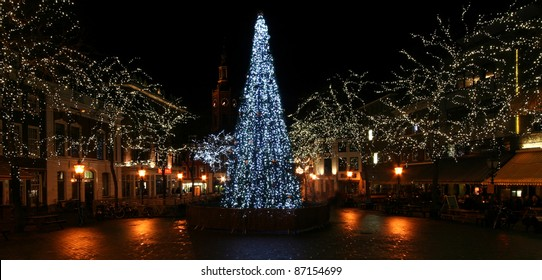 Christmas Tree on a town square in The Hague, Holland