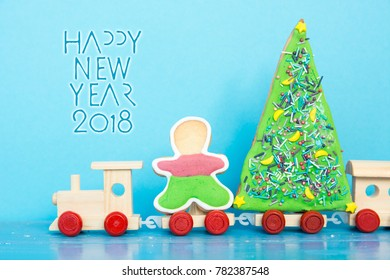 Christmas tree on toy train  Happy New Year card celebration card