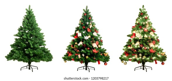 Christmas tree on white background three version, Pine with no decoration, decorated and lighten decorated christmas tree