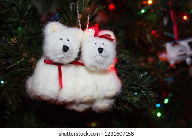 Christmas Tree Ornament of Two White Polar Bears hanging on the tree