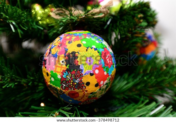 Christmas Tree Ornaments Handmade Ball Textile Stock Photo