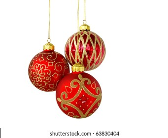 Christmas tree ornaments hanging, isolated on white background