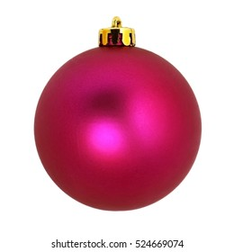 Christmas tree ornaments.Pink decorative ball. Isolated on white background.