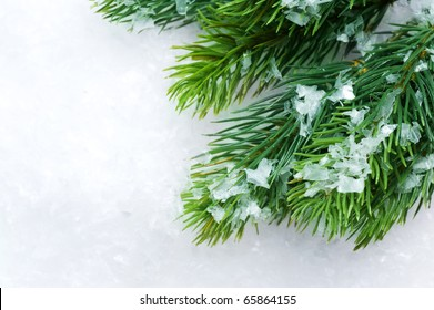 Christmas Tree over Snow.Winter Background