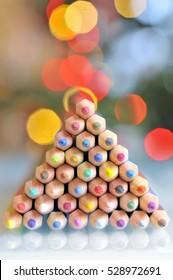 christmas tree pencils and bokeh  lights