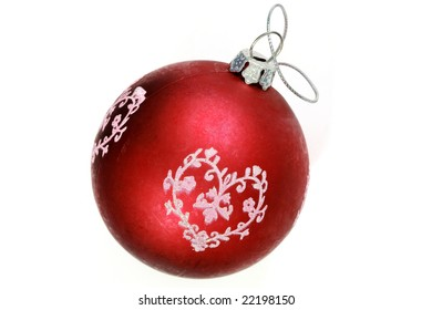 Christmas tree red ball isolated on white background
