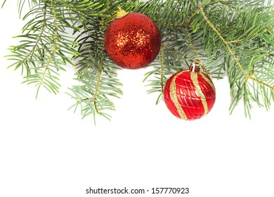 Christmas tree and red Christmas balls with space for your text