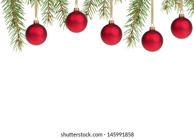 christmas tree with red balls, with white copy space