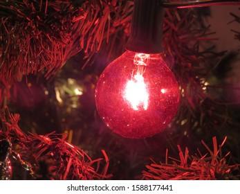 Christmas Tree Red Blinking Light