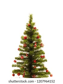 Christmas tree with red decorations, gift box in white background, Christmas concept interior room