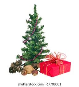 Christmas tree and red gift box