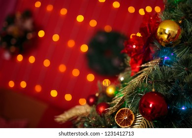 christmas tree in red lights and oranges
